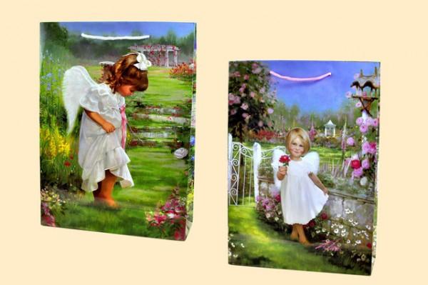 Geschenktüte Engel im Garten A4