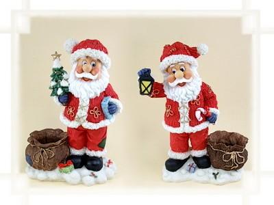 Weihnachtsmann groß neben Sack aus Steinharz