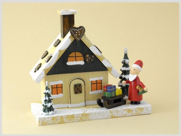 Rauchhaus Lebkuchenhaus mit Weihnachtsmann farbig aus Holz