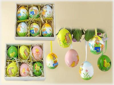 Natur-Ei mit Ostermotiv zum Hängen 6er Set