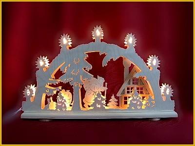 Schwibbogen Weihnachtsmann an Waldhaus 3D