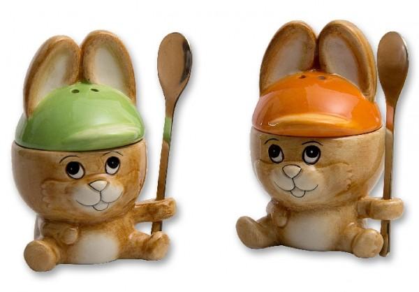 Frühstücks-Set 3-teilig Hase als Eierbecher mit Salzstreuer