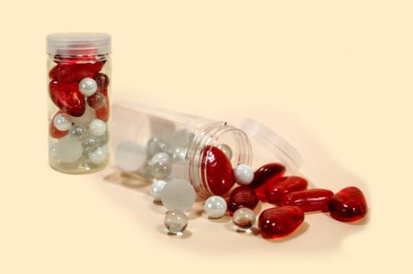 Deko-Steine rot-weiß-transparent