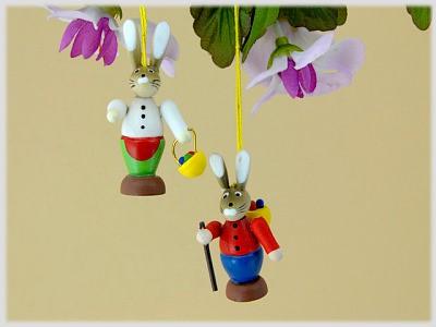 Hasenmann und Hasenfrau aus Holz zum Hängen 2er Set