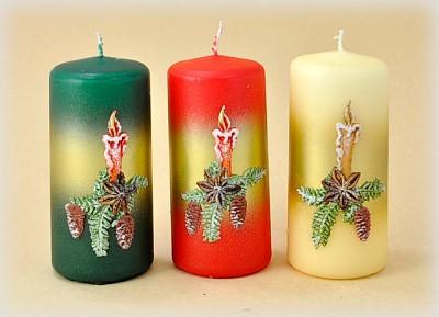 Stumpenkerze mit Motiv rustikale Kerze