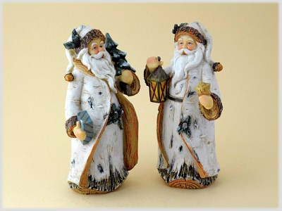 Weihnachtsmann groß im Birkendesign aus Steinharz