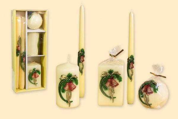 Geschenkpackung Kerzen 5-teiliges Set - Motiv Glocke