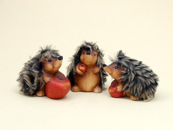 Igel mit Plüschfell aus Keramik, Setpreis 3 Stück