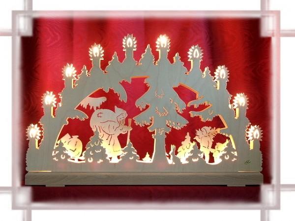 Schwibbogen Weihnachtsmann 3D 16-flammig