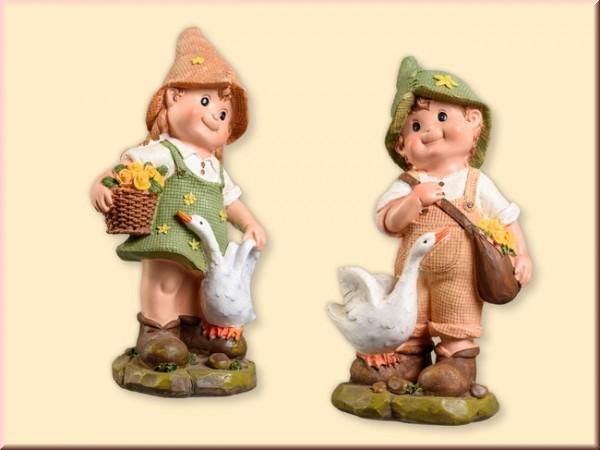 Gartenkind Junge und Mädchen groß 25cm, 2 Stück