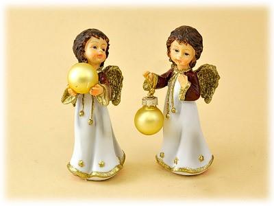 Engel mit Goldkugel aus Steinharz, 2 Sorten
