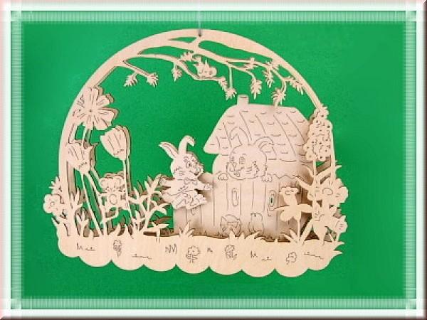 Fensterbild 3D Springender Hase am Osterhaus