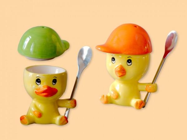 Frühstücks-Set 3-teilig Küken als Eierbecher mit Salzstreuer