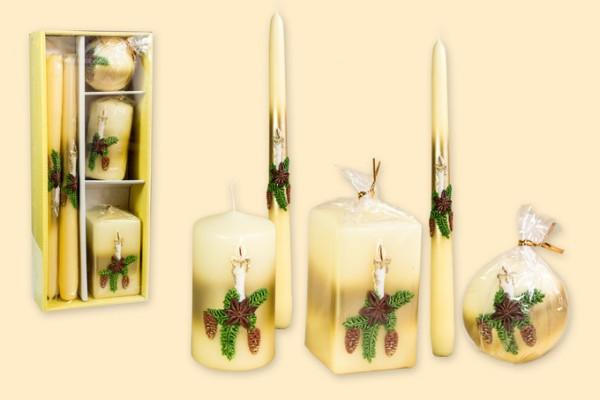 Geschenkpackung Kerzen 5-teiliges Set - Motiv rustikale Kerze