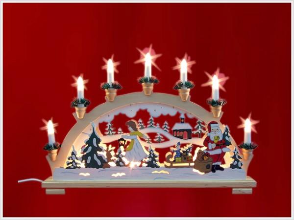 Schwibbogen Weihnachtsmann farbig 10-flammig indirekt beleuchtet