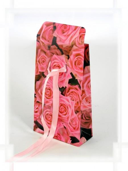 Geschenktüte Rosa Rosen mit Band A6
