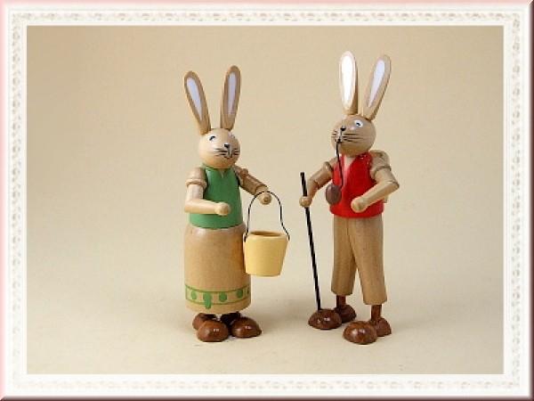 Hasenmann und Hasenfrau groß aus Holz