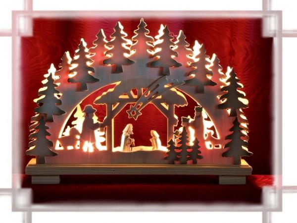 Schwibbogen Geburt farbig mit geschnitzten Figuren 10-flammig