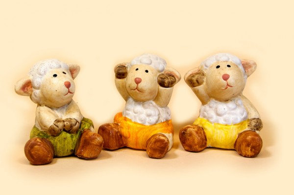 Deko-Schaf aus Keramik 3er Set