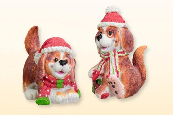 Hund Winterdeko aus Steinharz, Setpreis 2 Stück