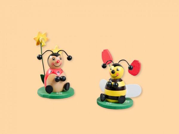 Biene und Marienkäfer mit Blume aus Holz, 2 Stück