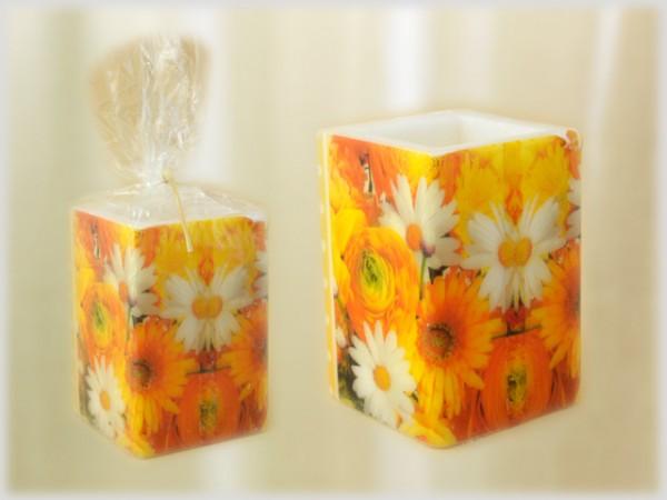 Kerze quadratisch mit Serviettentechnik Motiv Blumen-Sammlung