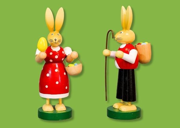 Hasenmann und Hasenfrau aus Holz 21cm, Stückpreis