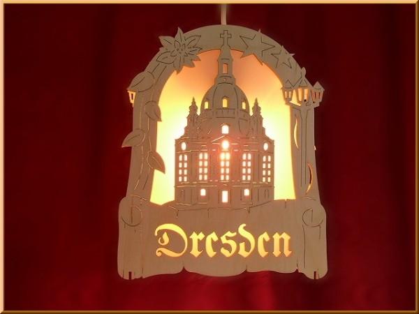 Fensterbild Dresden zum Hängen und Stellen beleuchtet