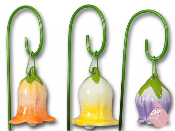 Blütenglocke mit Stecker aus Porzellan, 3 Stück