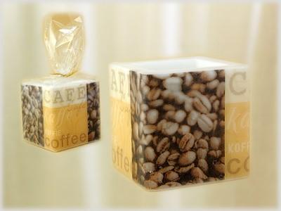 Würfelkerze mit Serviettentechnik Motiv Coffee