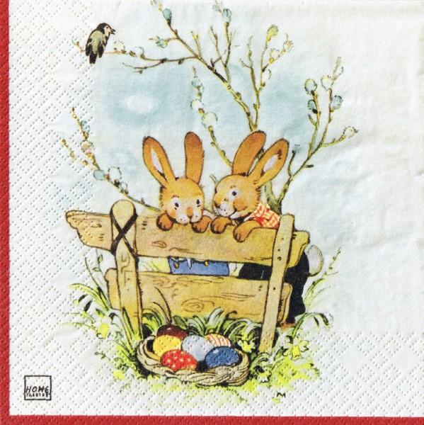 Servietten 20er Pack Motiv Hasen am Gartenzaun
