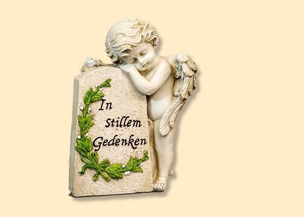 Grab-Deko Engel an Grabstein - In stillem Gedenken