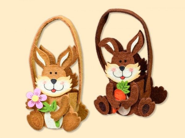 Tasche Hase aus Filz für kleine Geschenke zu Ostern, 2 Stück