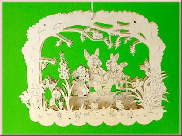 Fensterbild 3D Hasenfamilie Geschichten-Erzähler