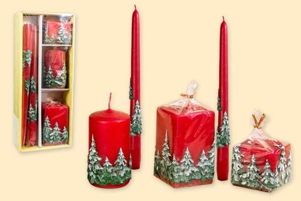 Geschenkpackung Kerzen 5-teiliges Set - Motiv Wald