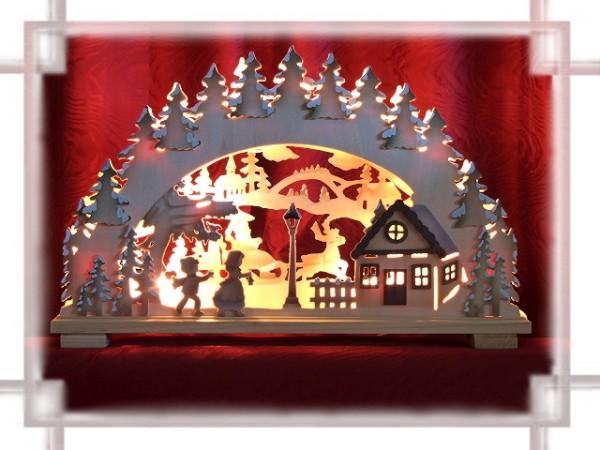 Schwibbogen Waldhaus farbig 10-flammig indirekt beleuchtet
