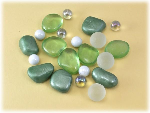 Deko-Steine grün-weiß-transparent