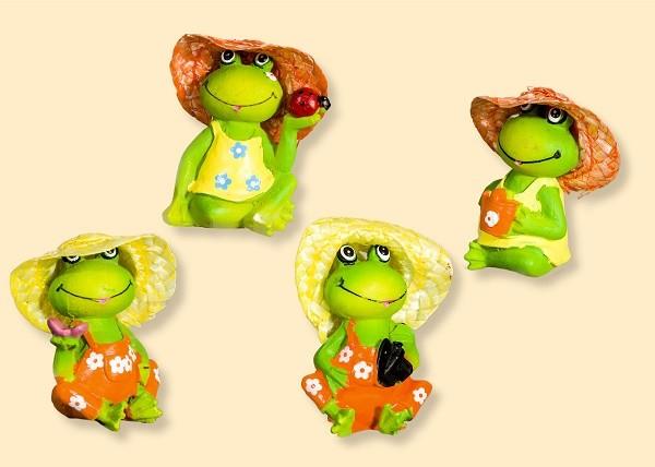 Frosch mit Hut aus Steinharz, Setpreis 4 Stück
