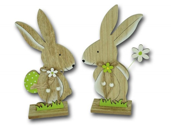 Osterhase stehend mit Osterei und Blume aus Holz klein