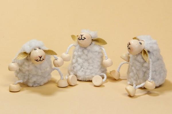 Schaf mini mit Fell + beweglichen Armen und Beinen