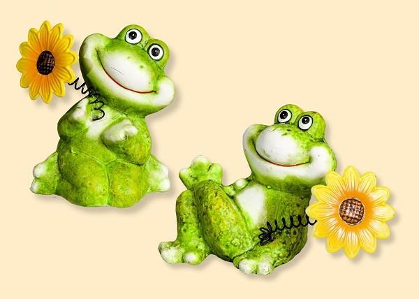Frosch sitzend mit Blume 10cm, Setpreis 2 Stück