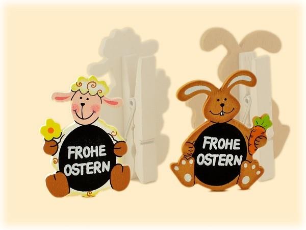 Oster-Clips Hase und Schaf, 4-teiliges Set - 2 Varianten
