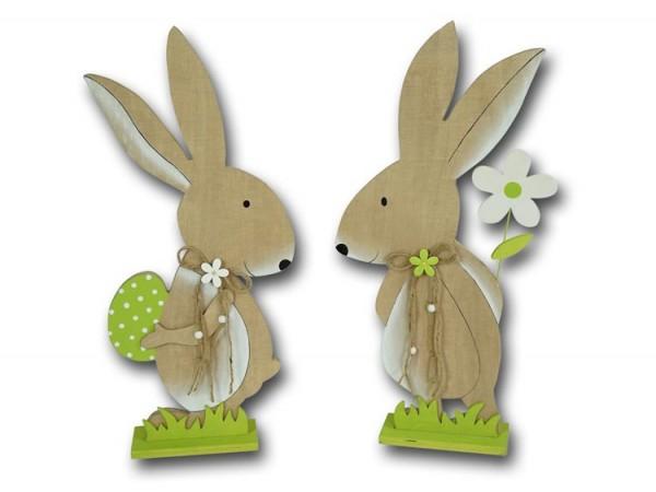 Osterhase stehend mit Osterei und Blume aus Holz groß