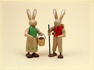 Hasenmann und Hasenfrau klein aus Holz