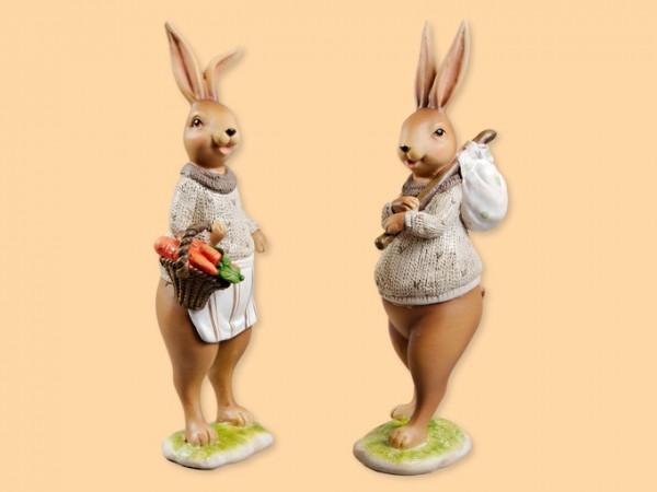 Hasen Nostalgie stehend mit Pullover mittelgroß 22cm, 2 Stück