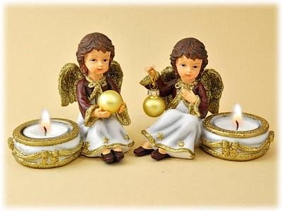 Engel geglimmert mit Teelichthalter aus Steinharz, 2 Sorten
