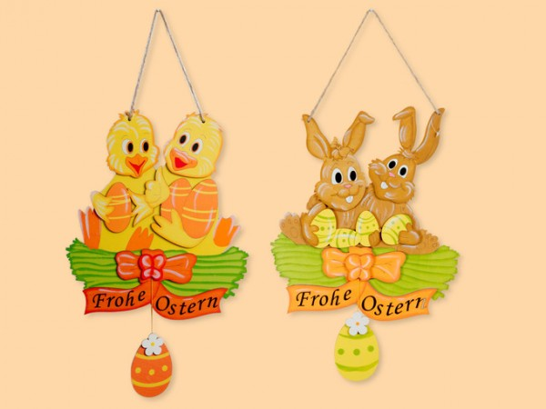 Tür-/Fensterschild Frohe Ostern aus Holz als Dekoration