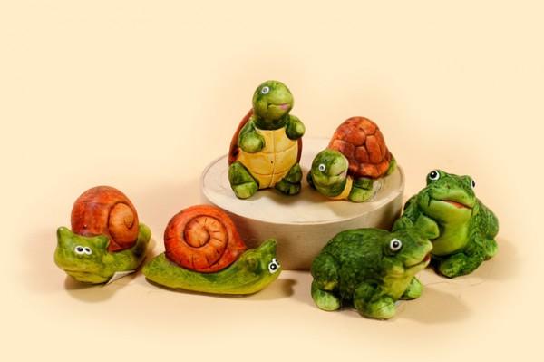 Deko Frosch, Schnecke und Schildkröte