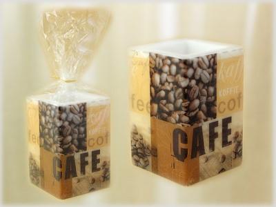 Kerze quadratisch mit Serviettentechnik Motiv Coffee