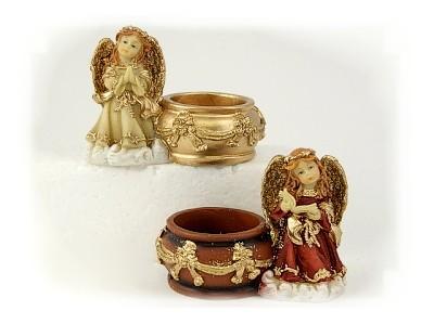Engel mit Teelichthalter aus Steinharz, 2 Sorten